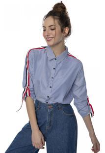 Camisa Listrada Alongada Com Faixas Laterais Pop Me Azul