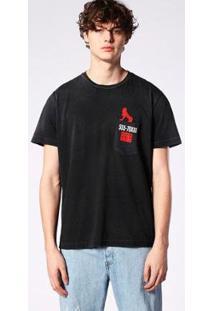 Camiseta Diesel Firm Grip Masculina - Masculino-Preto