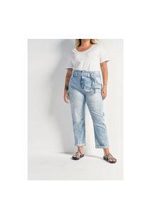 Calça Baggy Jeans Com Cinto E Barra Dobrada Curve & Plus Size   Ashua Curve E Plus Size   Azul   46