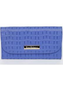 Carteira Em Couro Croco Com Tag- Azul- 10X19X2,5Cm