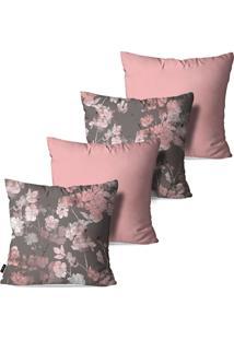 Kit Com 4 Capas Para Almofadas Pump Up Decorativas Flores Brancas E Rosê 45X45Cm