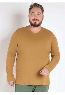 Camiseta Básica Masculina Mostarda Plus Size