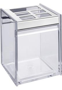 Porta Escova & Creme Dental Quadrada- Inox & Incolorbrinox