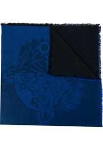 Kenzo Cachecol Com Logo Em Relevo - Azul