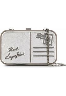 Karl Lagerfeld Bolsa K/Postcard Minaudière - Prateado