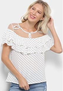 Blusa Lily Fashion Babado Poá Feminina - Feminino-Off White