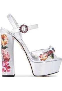 Dolce & Gabbana Sandália Plataforma Com Estampa Floral - Prateado