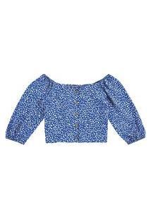Blusa Lecimar Em Viscose Rayon Alto Verão Azul Escuro