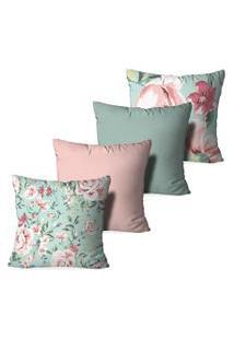 Kit 4 Capas Para Almofadas Decorativas Love Decor Floral Rosa