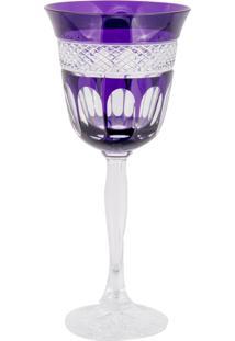 Taça De Cristal Lodz Para Água De 220 Ml - Purple