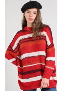Suéter Feminino Oversized Listrado Em Tricô Decote Redondo Vermelho