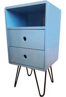 Criado Mudo Open Azul Bebe Com 2 Gavetas Base Ferro Preto - 51712 Sun House