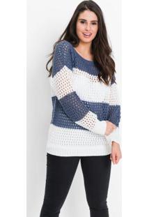 Suéter De Tricô Ponto Vazado Azul