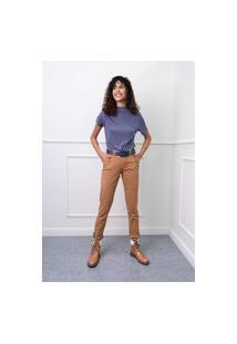 Calça Sisal Jeans Cigarrete Bolso Com Botão Revestido Caramelo