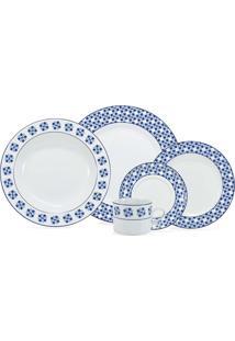 Aparelho De Jantar Athena 30 Peças - Schmidt - Branco / Azul