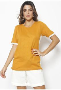 Blusa Canelada Com Recortes - Amarela & Off White - Maria Valentina