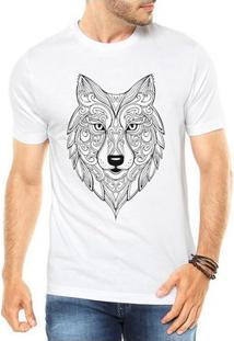 Camiseta Criativa Urbana Lobo Tattoo Style Illustration Tribal - Masculino-Branco
