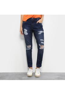 Calça Jeans Skinny Morena Rosa Bordado Cintura Média Feminina - Feminino