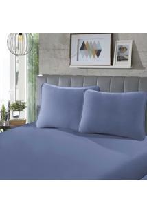 Lençol Com Elástico King 40 Rubi Liso 1 Peça Azul - Sbx Têxtil