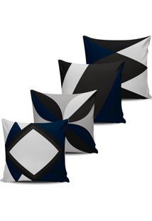 Kit 4 Capas Almofadas Decorativas Abstrata Azul Indigo 45X45 - Tricae