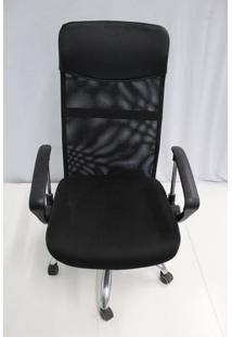 Cadeira Office Outlet Flex Estofada Alta Preta Cromada - 10 - Sun House