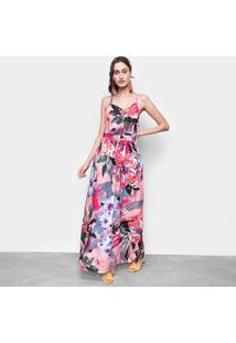 Vestido Ms Fashion Longo Floral Alças - Feminino-Rosa