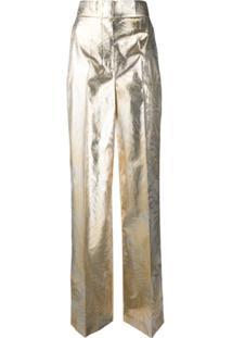 Sara Battaglia Calça Pantalona Com Estampa De Folhas - Dourado