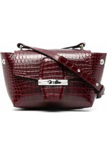 Longchamp Bolsa Transversal Roseau Com Efeito Pele De Cobra - Vermelho