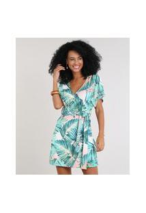 Vestido Feminino Estampado De Folhagens Manga Curta Decote V Verde