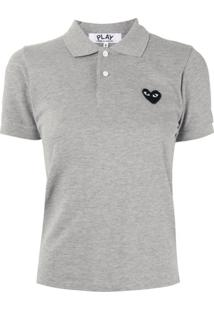 Comme Des Garçons Play Camisa Polo Com Logo Bordado - Cinza