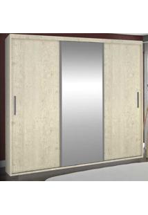Guarda-Roupa Casal 3 Portas Com 1 Espelho 100% Mdf 1971E1 Marfim Areia - Foscarini