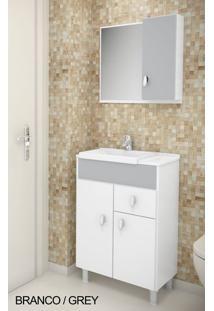 Gabinete Para Banheiro Kit Tuon - Balcão + Espelheira + Marmorite - Branco Com Grey