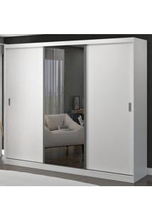 Guarda-Roupa Casal 3 Portas De Correr Com 1 Espelho 100% Mdf 1902E1 Branco - Foscarini