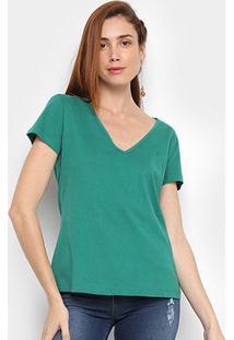 Camiseta Forum Gola V Feminina - Feminino-Verde Militar