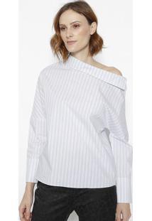Blusa Assimã©Trica Listrada - Branca & Azul- Cotton Ccotton Colors Extra