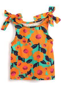 Blusa Fruteira 3 Menina Floral Verde