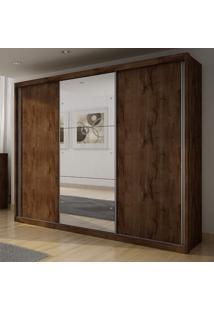 Guarda Roupa Casal Com Espelho 3 Portas 4 Gavetas Paradizzo Plus Móveis Novo Horizonte Canela