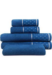Jogo De Toalhas Banho 5 Peças Appel Safira Azul Profundo