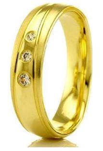 Aliança De Casamento Feminina Em Ouro 18K 5Mm Modelo Liso E Fosco Wm Jóias - Feminino-Dourado