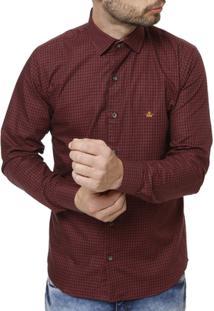Camisa Manga Longa Masculina - Masculino-Bordô