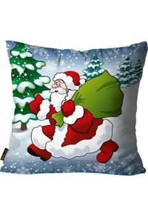Capa Para Almofada Premium Cetim Mdecore Natal Papai Noel Azul 45X45Cm