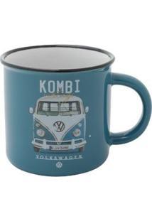 Mini Caneca De Porcelana Vw Kombi Vintage Azul 220 Ml