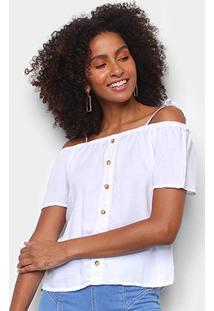 Blusa Cambos Bata Ombro A Ombro Botões Feminina - Feminino-Branco