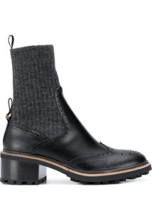 Chloé Ankle Boot Com Detalhe Meia Franne - Preto