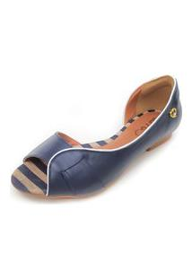 Sandália Rasteira Em Couro Amo Calçados Lily Azul Marinho