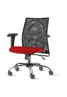 Cadeira Liss Com Bracos Curvados Assento Courino Vermelho Base Semi Arcada Cromada - 54658 Vermelho