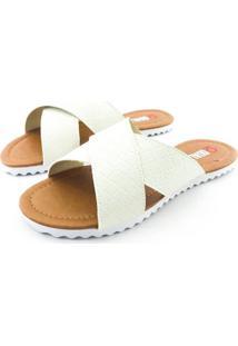 Rasteira Quality Shoes Feminina 008 Verniz Matelassê Branco 35 35