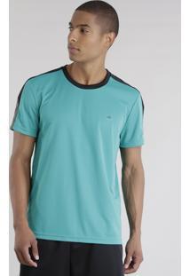 Camiseta Ace Basic Dry Com Recorte Verde Água