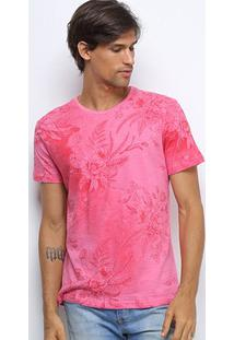 Camiseta Canal Surf Floral Full Print Masculina - Masculino-Rosa
