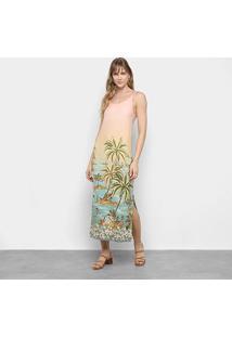Vestido Farm Tunica Recanto Baiano Fenda - Feminino-Estampado